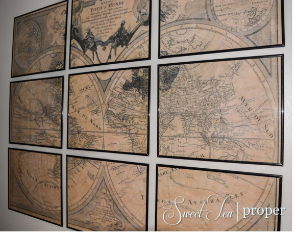 Restoration Hardware Inspired Large Vintage World Map Tutorial Diy