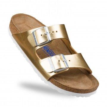 Sandales Birkenstock Arizona Doré Cuir BK1000064 1