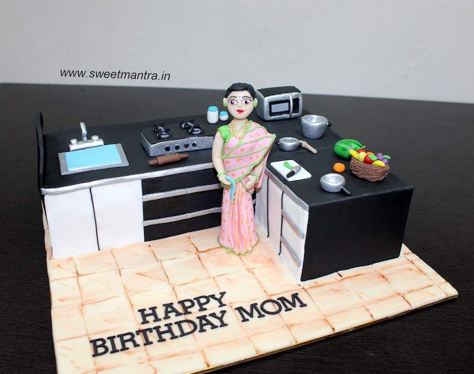Kitchen shaped Cooking theme 3D designer fondant cake with 3d