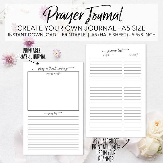 Prayer Journal Planner Insert Pages Create Your Own Faith Etsy In 2021 Prayer Journal Printable Prayers Devotional Journal