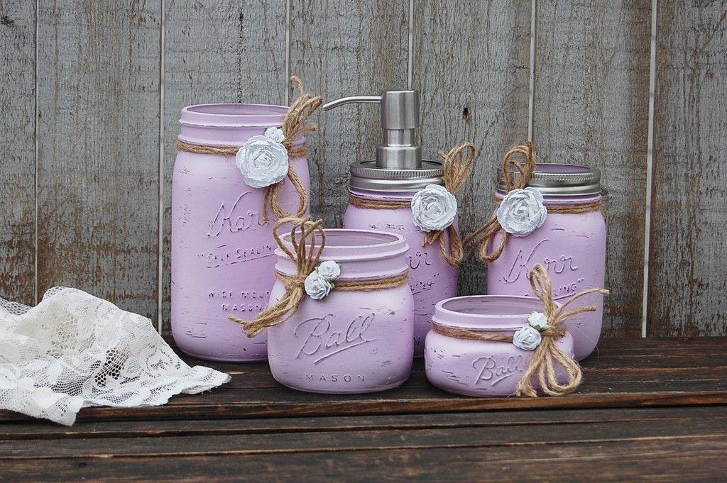 Photo of Lavender mason jar bathroom set