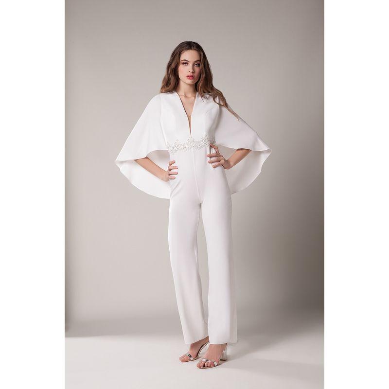 52e1e43d1fb8b1 Combinaison pantalon mariée, blanc cassé ivoire avec dentelle, coupe ...