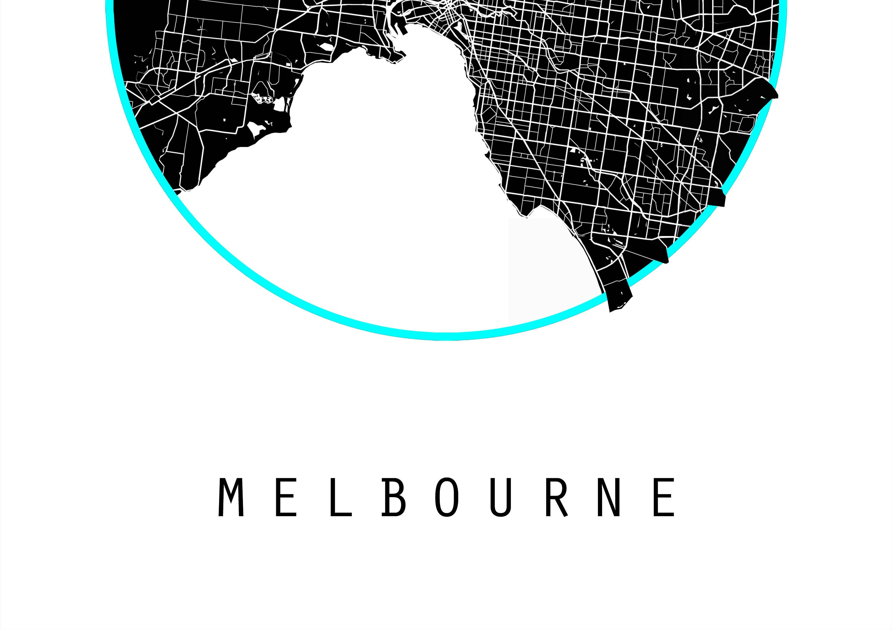 Melbourne Map, Australia Map, Victoria Map, Maps, Black And White ...