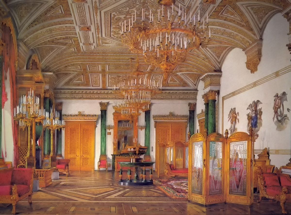 The Malachite Room 1864 In The Winter Palace Winter Palace Palace Interior Hermitage Museum