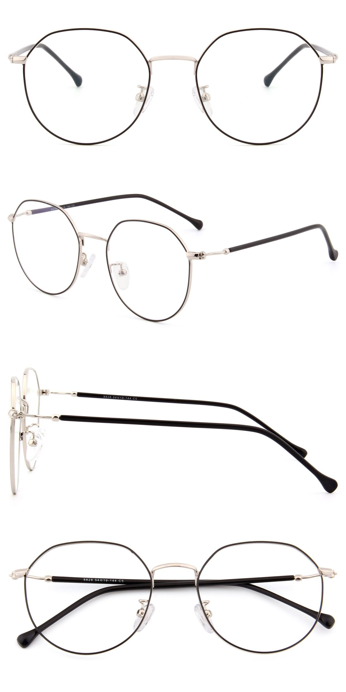 8828 Black And Silver Eyeglasses Silver Gold