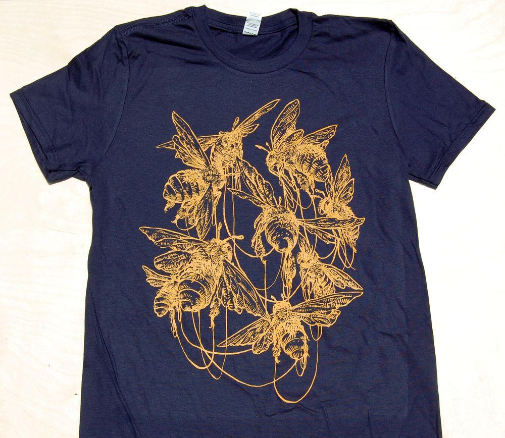 """Commune"" illustrationGold ink on navy unisex crew neck"