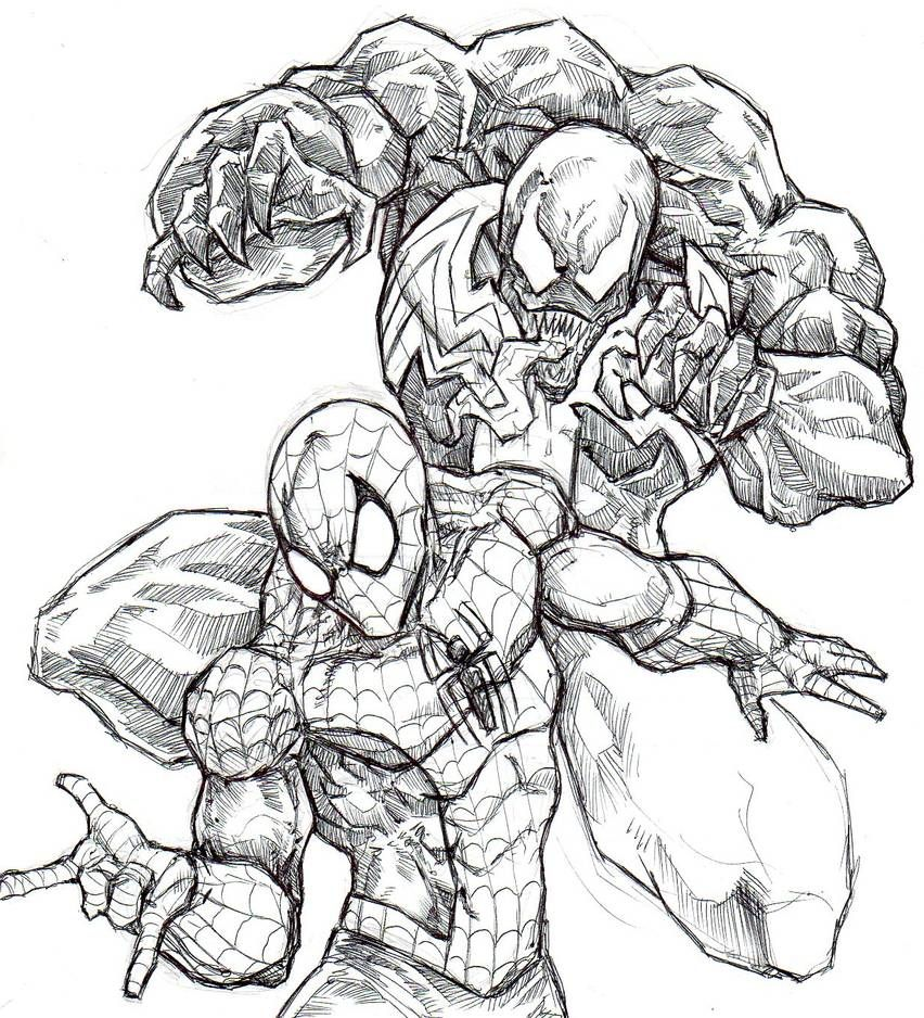 Venom And Spider Man By Chrisozfulton On Deviantart Spiderman Coloring Spider Coloring Page Adult Coloring Pages