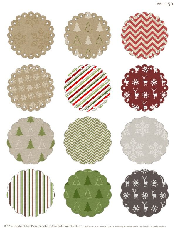 Free printable round labels with editable fields ready to print – Blank Christmas Templates