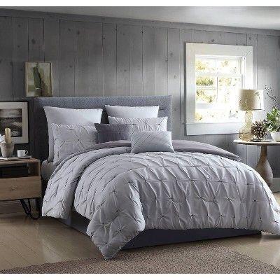 Queen Jessamy Solid Comforter Set Gray Hallmart Collectibles Grey Comforter Sets Comforter Sets Bedroom Comforter Sets