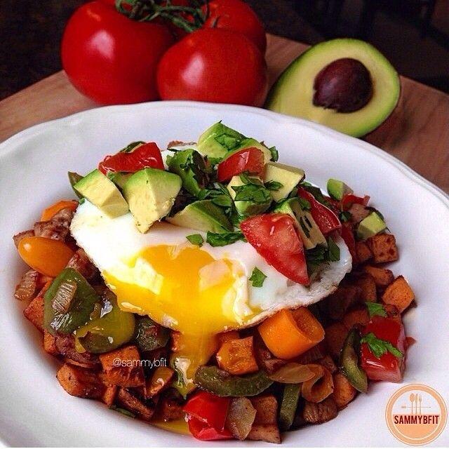 Sweet Potato Breakfast Hash by @sammybfit What You Will Need: 2 medium bell peppers, diced 3 Al Fresco Apple