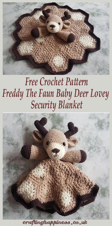 Crochet Pattern: Freddy The Fawn Baby Deer Lovey Security Blanket #crochetsecurityblanket