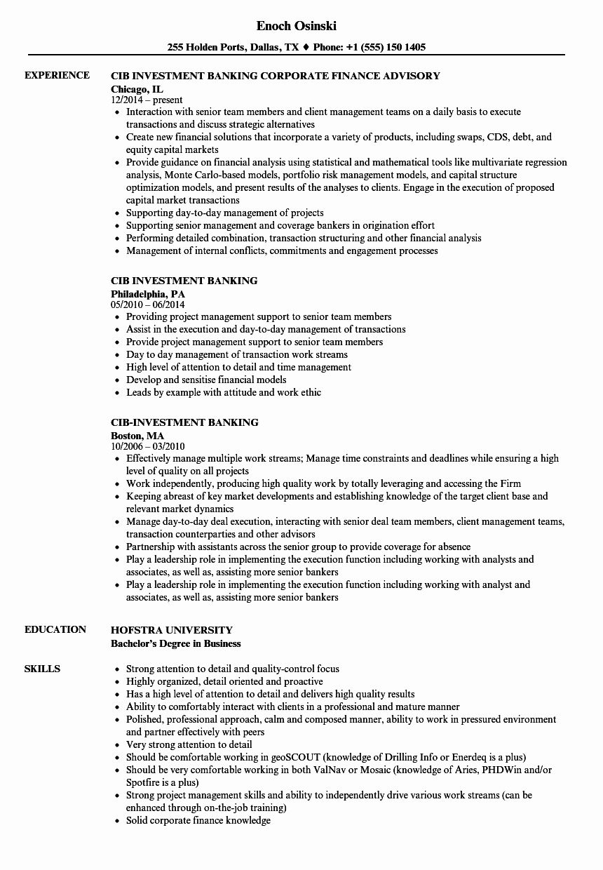 Experienced Investment Banking Resume Lovely Cib