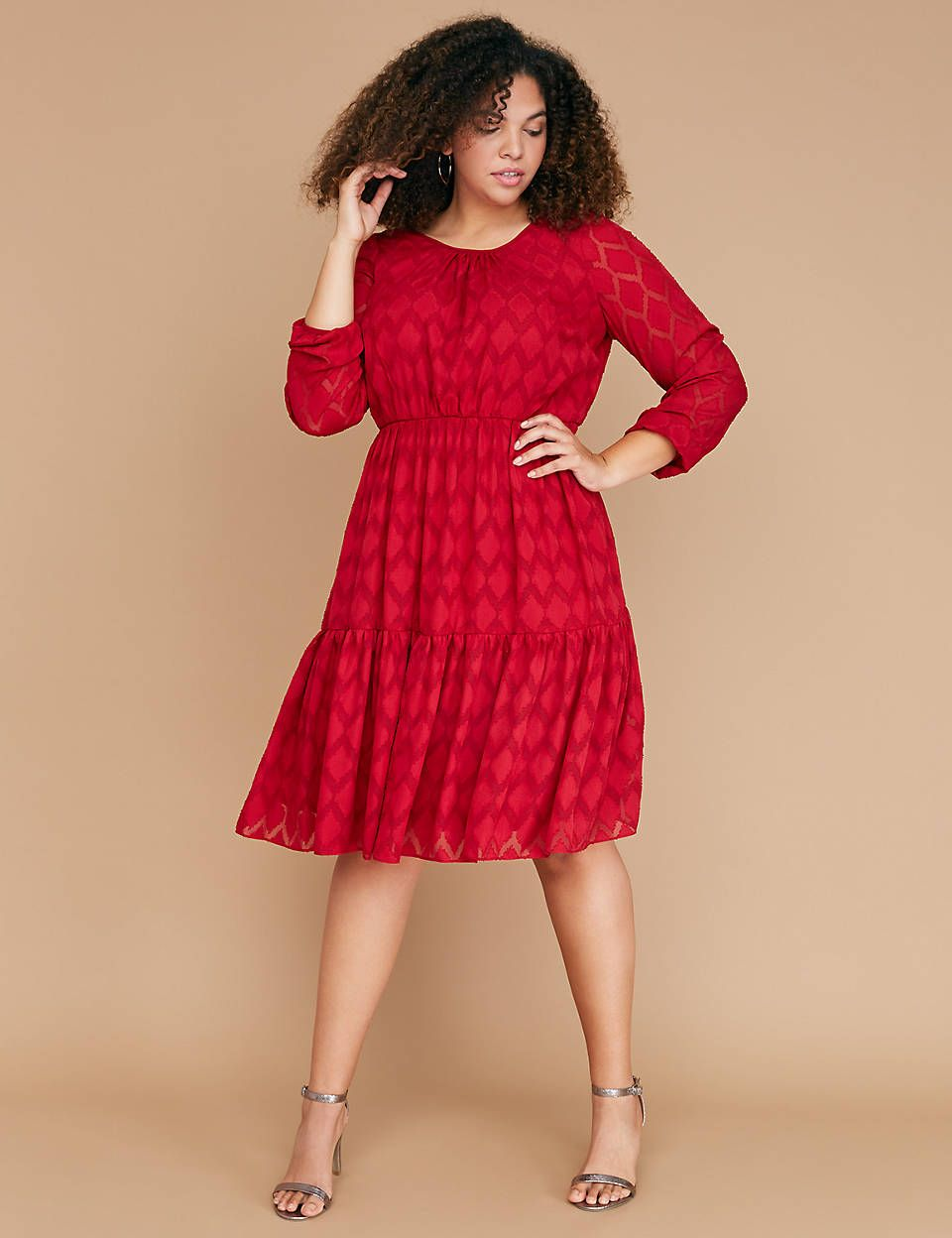 9c30fa870e55 Textured Crepe Fit & Flare Dress | Lane Bryant | Fashion | Fit flare ...