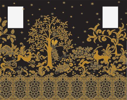 Gold and black after rateau amazing stencil mural for Art deco wallpaper mural
