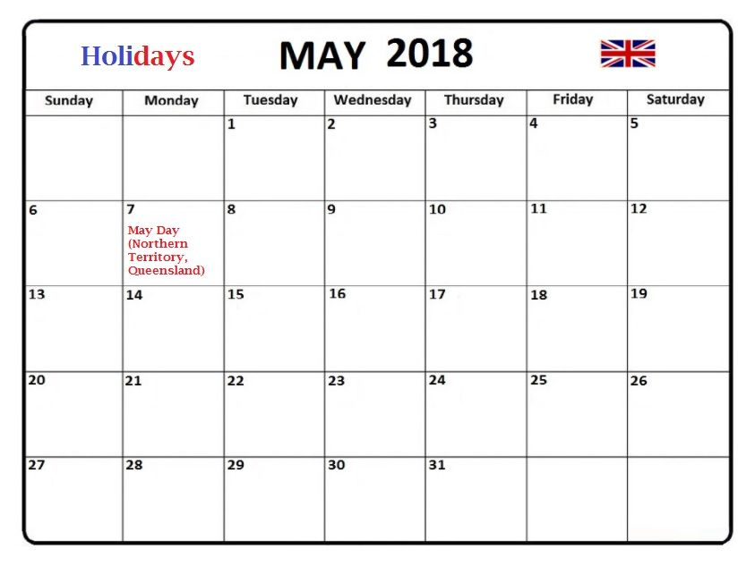 May 2018 Australia Holidays Calendar Template Latest Calendar