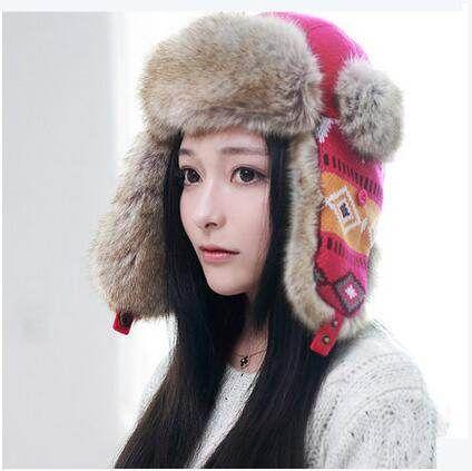 Fashion geometric bomber hat for women winter warm ushanka hats