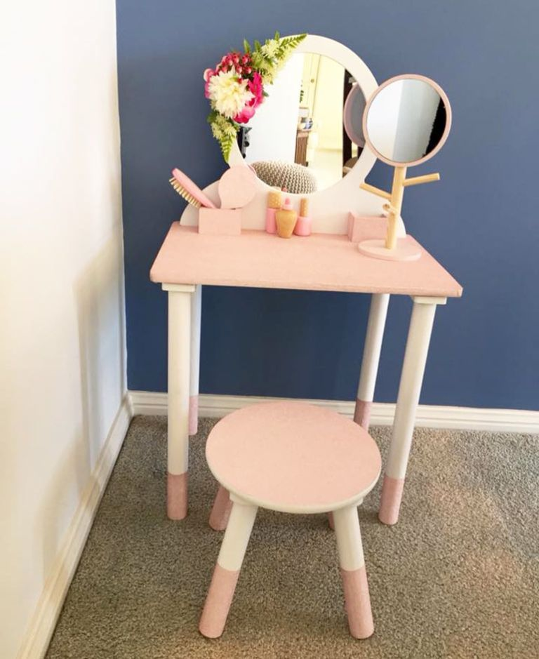 Kmart Hacks 9 Ways To Hack This Cute Kmart Wooden Vanity Table In 2020 Wooden Vanity Toddler Vanity Little Girls Vanity Diy
