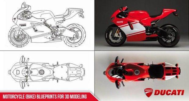 Motorcycle Bike Blueprints For 3d Modeling Blueprints