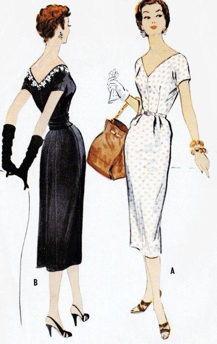 1950s Day or Evening Cocktail Dress Pattern McCalls 9818 Bombshell Wiggle Dress V Necklines Cummerbund Bust 32 Vintage Sewing Pattern