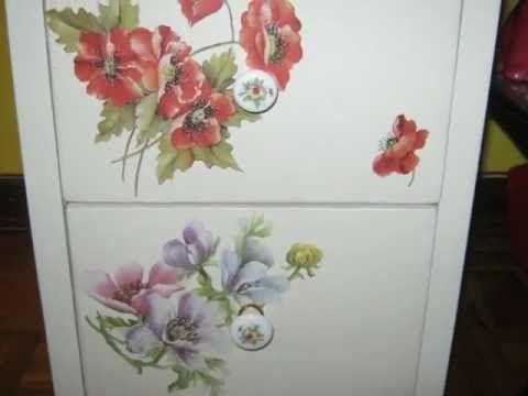 Decoupage su legno cassettiera youtube decorazioni - Decoupage su mobili ...