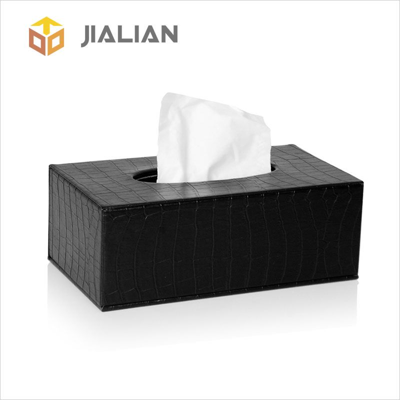 The Black Large Rectangular Tissue Box Cover Holder Covered By Artificial Leather Use Other Material To Design Grain On Surface Inner Stretchy