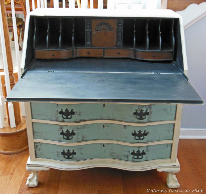 Vintage Claw Foot Drop Front Secretary Desk Painted Secretary Desks Antique Secretary Desks Vintage Secretary Desk