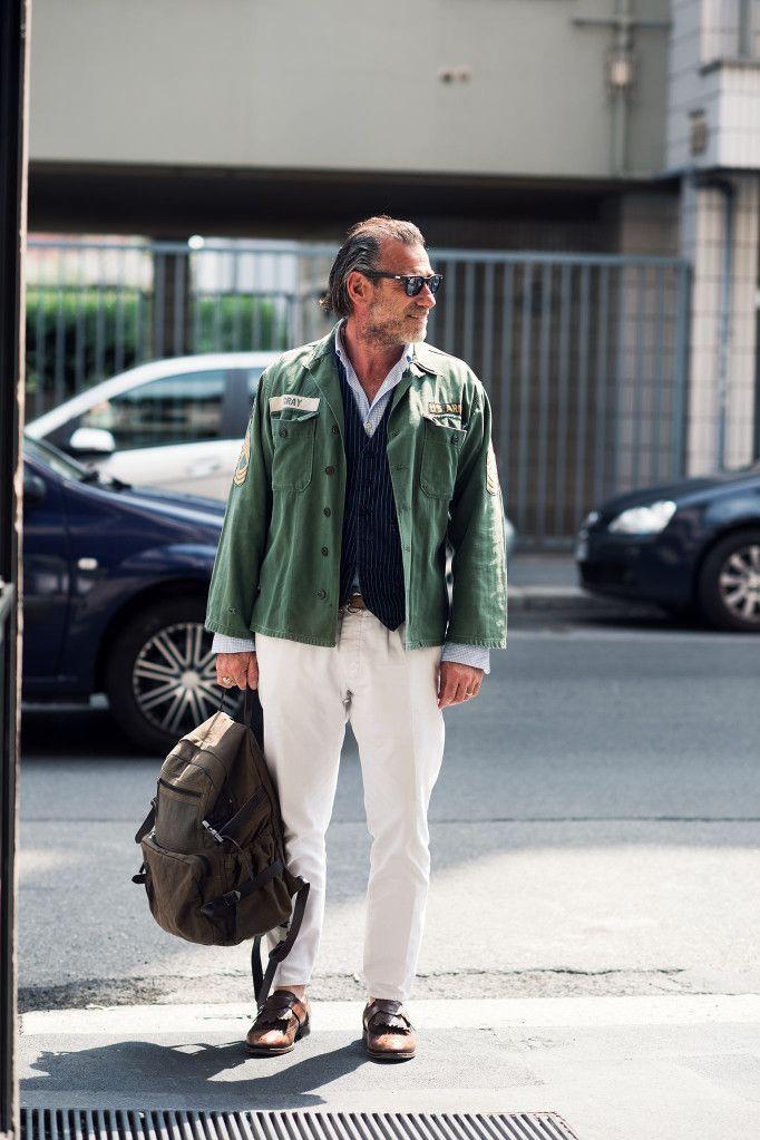 #army_jacket #white_pants #ALESSANDRO_SQUARZI