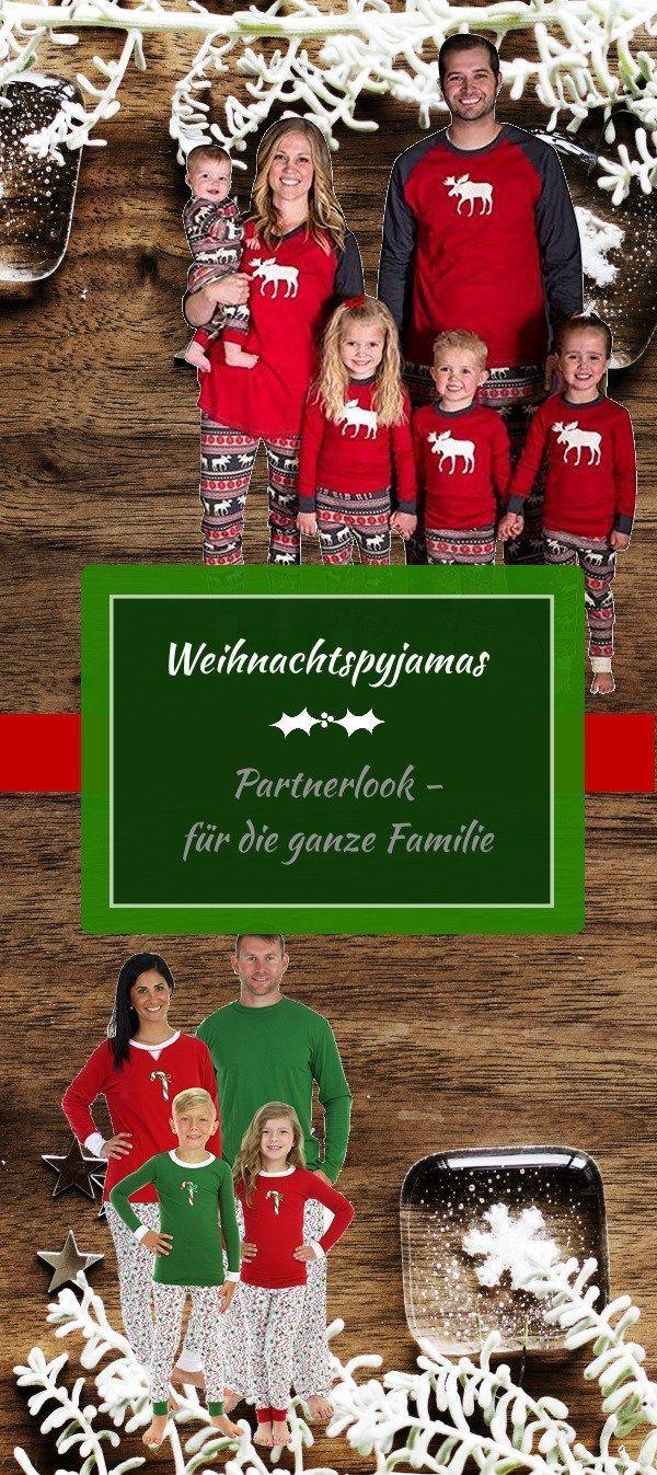 Weihnachtspyjamas im Partnerlook - gemütlich vom Kamin mit der ...