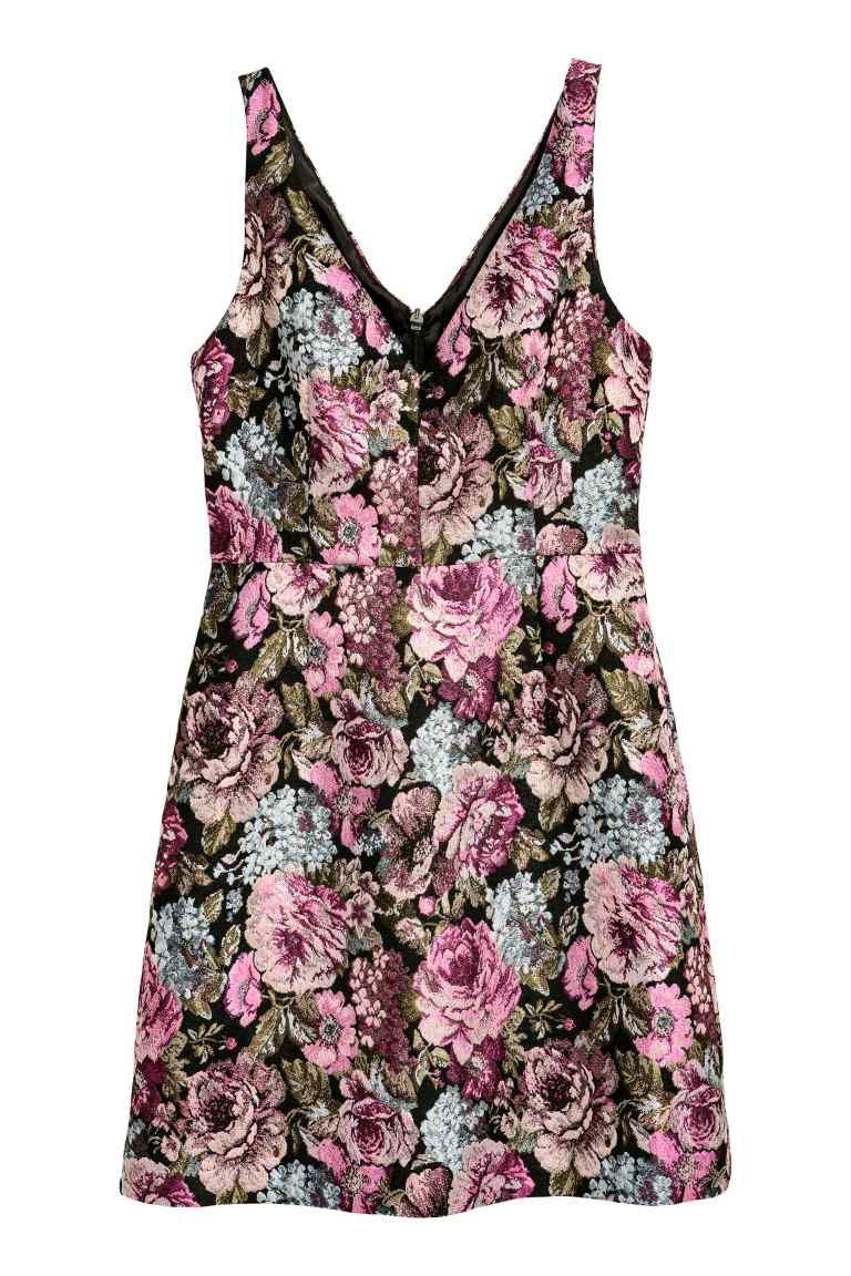 Jacquard Weave Dress Black Floral Ladies H M Gb Shop Short Dresses Fashion Clothes Women Short Fitted Dress