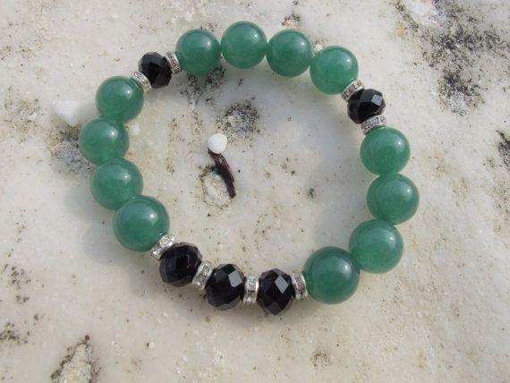 Hand-made aventurine  green 12mm. bracelet with by LadyArtRali
