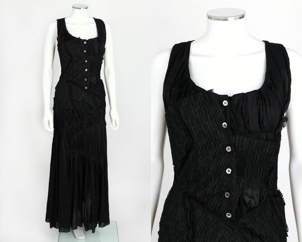 Issey miyake black pleated cotton lace patch sleeveless maxi dress