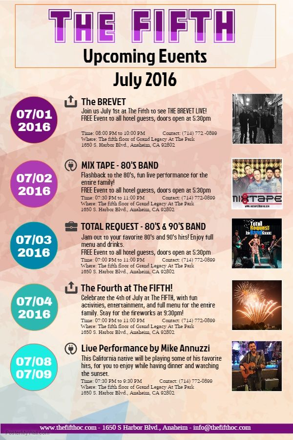 Check out the upcoming events at The Fifth! The FIFTH - event calendar