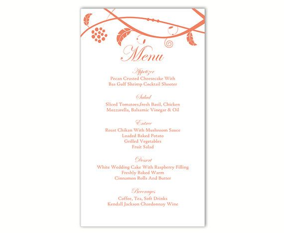 Wedding Menu Template Diy Menu Card Download By