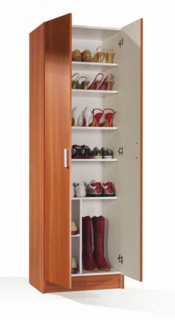Armario zapatero de 59cm con 2 puertas y 8 espacios color for Mueble zapatero color cerezo
