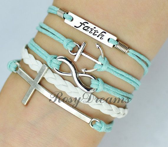 Infinity Faith and Cross & anchor Charm Bracelet in by RosyDreams, $4.99