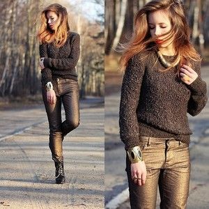 Bronze metallic jeans Bouclé knit sweater