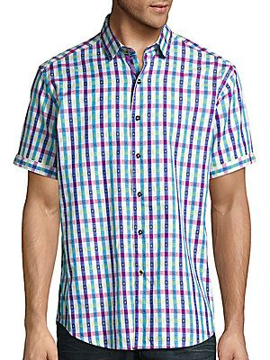 Robert Graham Gullies Checked Short Sleeve Shirt - Blue  - Size