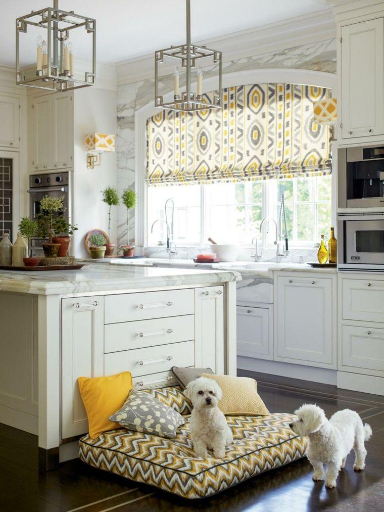 cocinas blancas ideas amarillo en el espacio | Muebles blancos ...