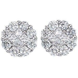 Allurez Diamond Cers Flower Stud Earrings In 14k White Gold 1 00 Ctw