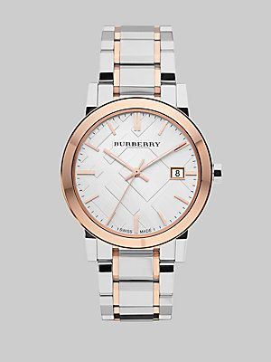 Burberry Two-Tone Stainless Steel Check Watch