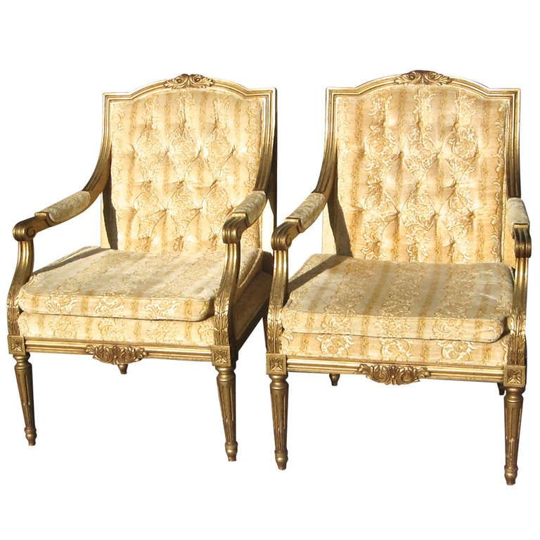 Hollywood Regency French Style Gold Tufted Golden Arm Chairs-Pair