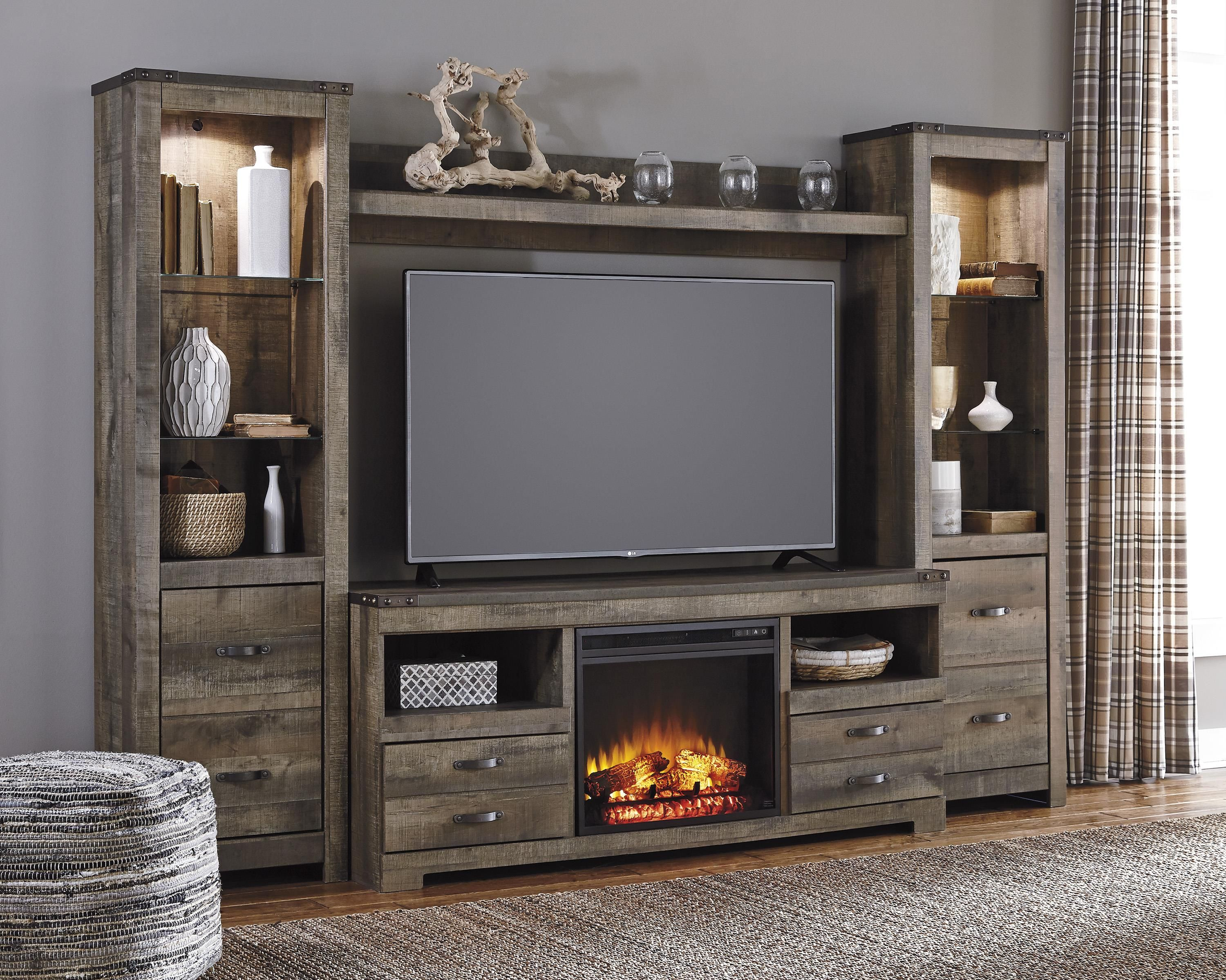 Trinell Rustic Large Tv Stand W Fireplace Insert 2 Tall Piers Bridge By Signature Design By Ashley Entertainment Wall Units Entertainment Center Entertainment Center Furniture
