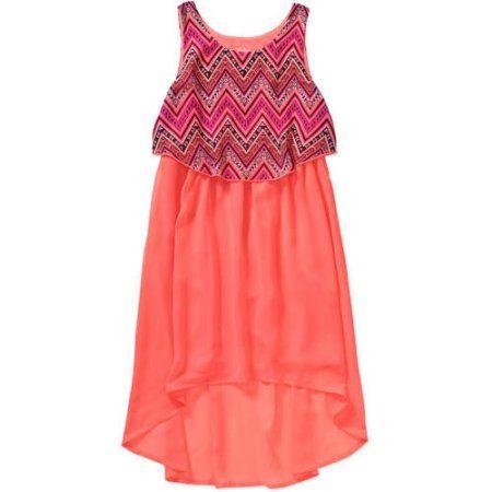 Faded Glory Girls\' Popover High Low Dress, Size: 14/16, Orange ...