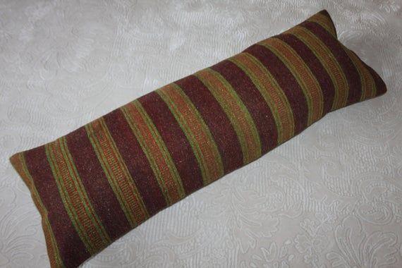 Green Stripe Lumbar Pillow 16x48 Lumbar Kilim Pillow, Turkish Kilim Lumbar Pillow 16x48 Kilim Pillow