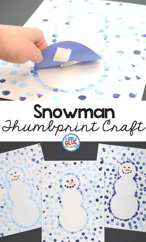 Photo of montessori  Snowman Thumbprint Art Kunstunterricht Art kunstunterricht schnee Mo…