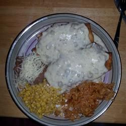 Chicken Chimichangas With Sour Cream Sauce Allrecipes Com Sour Cream Sauce Recipes Sour Cream
