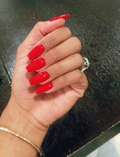 Red Acrylic Nails Square Acrylic Nails Long Red Nails Red Nails