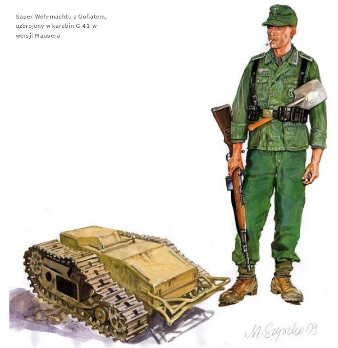 Tysk pioner soldat med sin nye Mauser G41 og en lille Goliat tanks