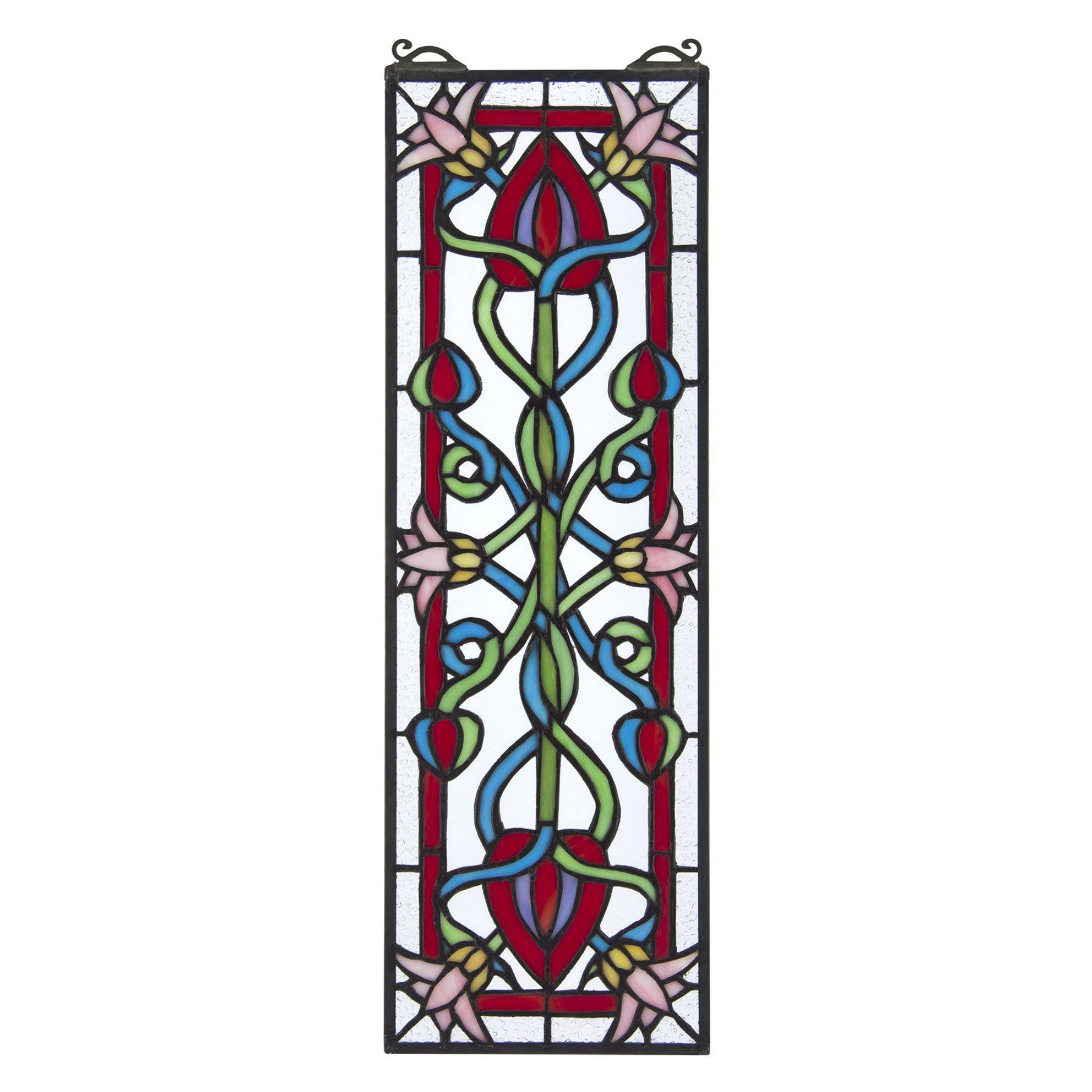 Design Toscano Pink Dahlia Tiffany Style Stained Glass Window  Tf28018
