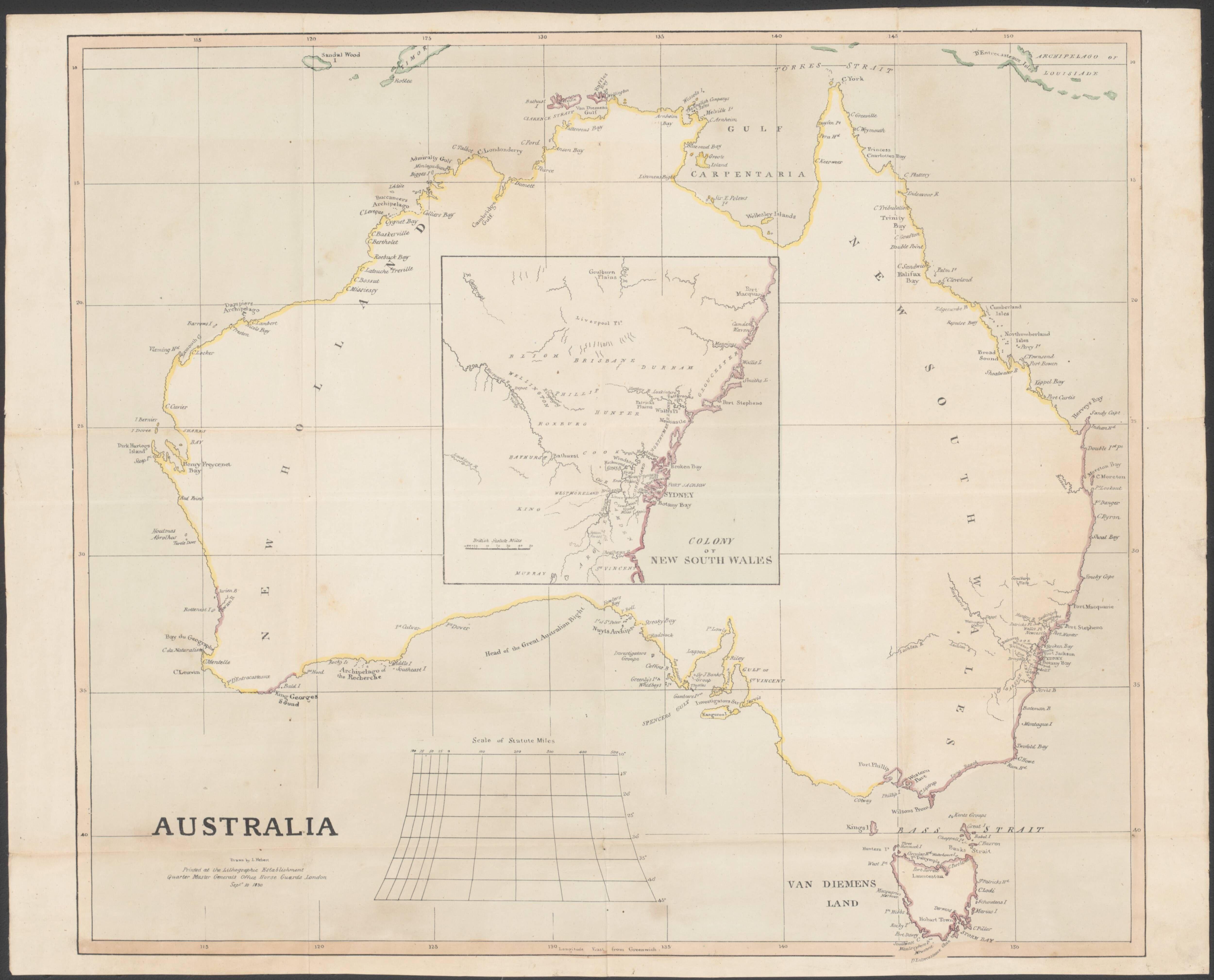 Map Of Australia 1830.1830 Map Of Australia Drawn By L Hebert Maps Of Australia